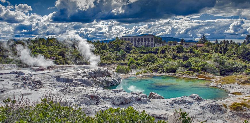 Whakarewarewa geyser en el parque termal te pui en Rotorua Geothermal Valley