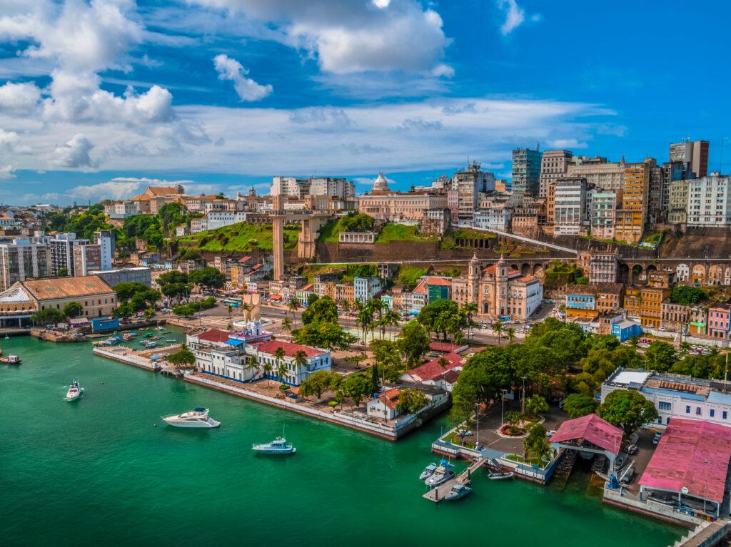 Vista aérea de la ciudad salvador Elavator lacerda en Bahía Brasil