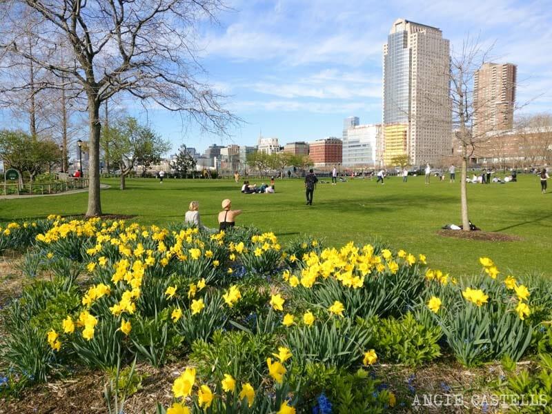 S & # 39; lo hace en la primavera en Nueva York York - Battery Park y Hudson