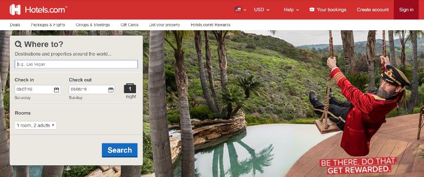 Pantalla de inicio de Hotels.com.