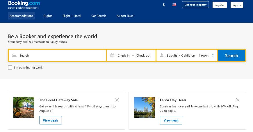 pantalla de inicio booking.com.