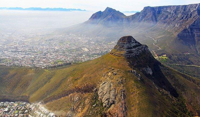 Vista aérea de Ciudad del Cabo desde el aire